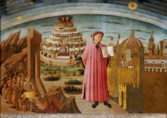 Michelino, Domenico di: Dante and his Poem the 'Divine Comedy', 1465. (Dante and the Three Kingdoms) Fine Art Print/Poster. Sizes: A1/A2/A3/A4 (00132)